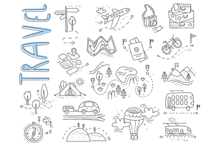 Illustration pour Doodle set of travel and camping icons. Signpost, air balloon, bike, forest, road, camera, car, map, baggage, camping, hills, tent, trolleybus, train. Vector design - image libre de droit