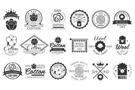 Ilustración de Set of vintage cotton and wool emblems with hand lettering. Natural product. Stylish monochrome labels. Cloth materials. Premium quality. Vector logo design - Imagen libre de derechos
