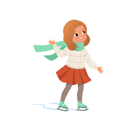 Illustration pour Lovely girl in warm clothes ice skating vector Illustration on a white background - image libre de droit