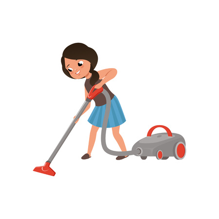 Ilustración de Cute girl cleaning mirror cleaning the floor with vacuum cleaner, home cleaning and homework vector Illustration on a white background - Imagen libre de derechos