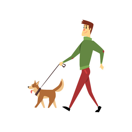 Ilustración de Young man walking with his dogs, cute pets with its owner vector Illustration on a white background - Imagen libre de derechos