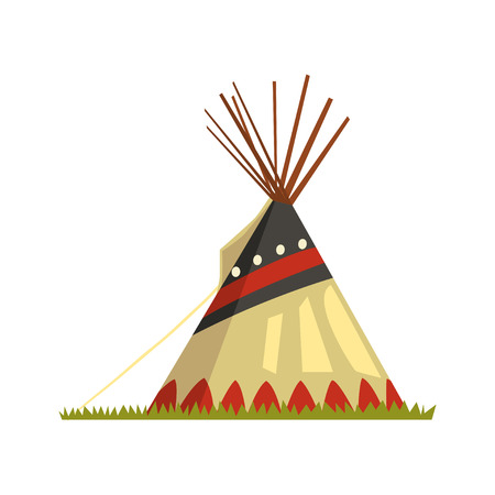 Illustration for Teepee, tent or wigwam Native American dwelling vector illustration on a white background. - Royalty Free Image