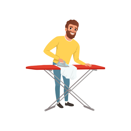 Illustrazione per Cartoon man image ironing clothes illustration - Immagini Royalty Free