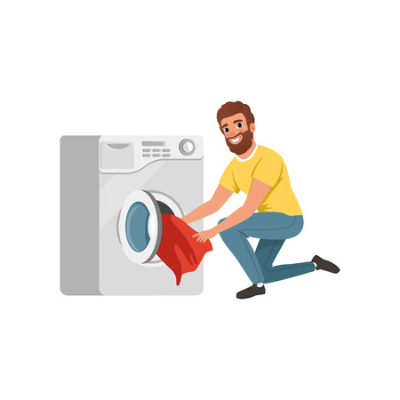 Illustrazione per Cheerful bearded man putting dirty clothes into washing machine. Cartoon character of house husband. Young guy doing his housework. Flat vector design - Immagini Royalty Free