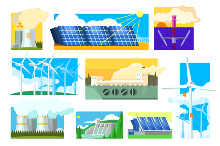 Illustration pour Vector set of alternative energy sources. Electricity production industry. Solar, wind, hydroelectric, nuclear and thermal power plants - image libre de droit