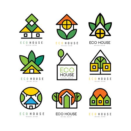 Ilustración de Collection of original logos with eco friendly houses. Ecological construction. Linear emblems for building company, real estate agency or architectural service. Vector illustration isolated on white - Imagen libre de derechos