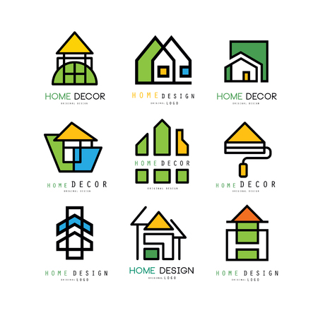 Illustration for Set of abstract linear logo templates for construction or architecture company. House painting, home decor and repair. Emblems for interior decorators and designers. Isolated vector illustration. - Royalty Free Image