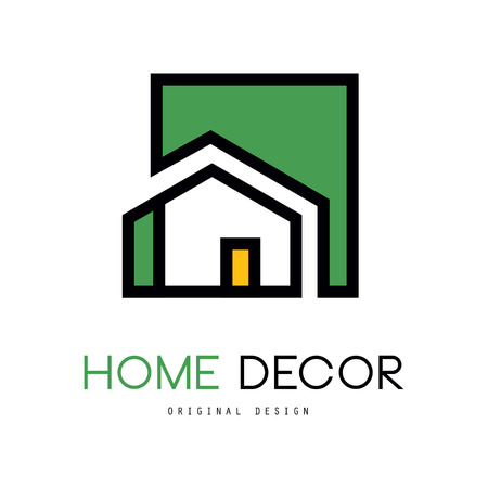 Ilustración de Geometric logo template with abstract building. Original linear emblem with green fill for interior design and home decorating company or business. Vector illustration isolated on white background. - Imagen libre de derechos