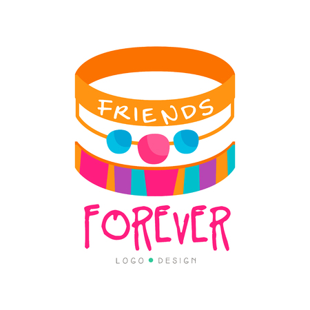 Illustration for Abstract vector design with friendship bracelets. Friends forever. Colorful graphic element for greeting card, poster, print or logo of mobile app - Royalty Free Image