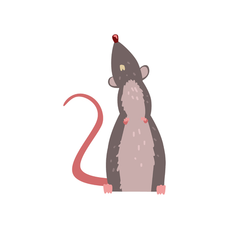 Ilustración de Cute grey mouse looking up, funny rodent character vector Illustration isolated on a white background. - Imagen libre de derechos