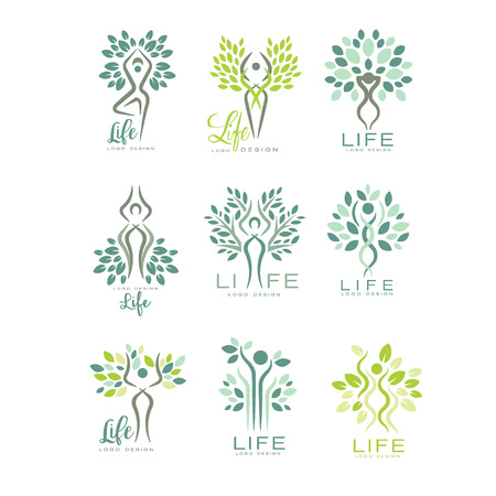 Illustration pour Healthy life logo templates for wellness center, spa salon or yoga studio. Harmony with nature. Creative green emblems with abstract human silhouettes and leaves. Flat vector icons isolated on white. - image libre de droit
