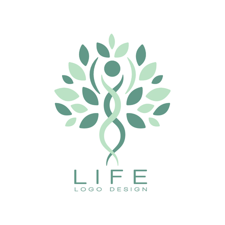 Ilustración de Abstract life logo design with green leaves and human silhouette. Healthy lifestyle theme. Creative emblem for medical care or wellness center. Flat vector illustration isolated on white background. - Imagen libre de derechos