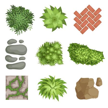 Ilustración de Flat vector set of landscape elements. - Imagen libre de derechos