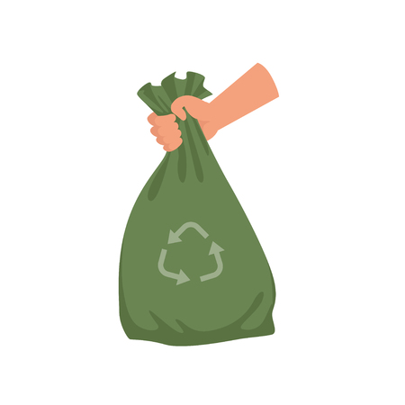 Ilustración de Hand holding green plastic trash bag, garbage recycling and utilization vector Illustration on a white background - Imagen libre de derechos
