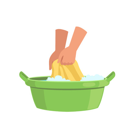 Illustration pour Washing clothes in green basin by hands, cleaning and housework concept vector Illustration on a white background - image libre de droit