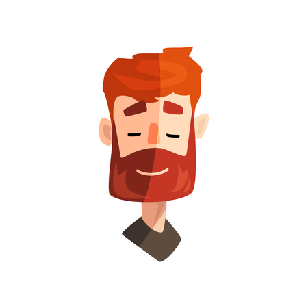 Illustration for Friendly redhead bearded man, male emotional face, avatar with facial expression vector Illustration on a white background - Royalty Free Image