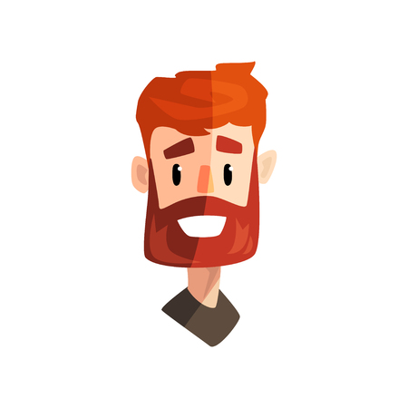 Illustration pour Smiling redhead bearded man, male emotional face, avatar with facial expression vector Illustration isolated on a white background. - image libre de droit