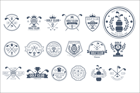 Ilustración de Collection of vintage logo templates for golf club. Individual sports game. Creative monochrome emblems with silhouettes of balls, golf clubs, trophies, ribbons and crowns. Original vector design. - Imagen libre de derechos