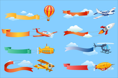 Illustration pour Air vehicles with horizontal banners set, helicopter, airplane, biplane, airship with ribbons vector Illustrations - image libre de droit