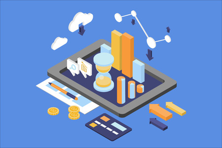 Ilustración de Concept of business analytics. Finance and management theme. Digital tablet with round chart, growing graph, hourglass. Web infographic. Isometric 3D flat vector design isolated on blue background. - Imagen libre de derechos