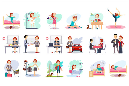 Ilustración de Active day of happy woman. Daily routine. Cartoon character of young pretty girl in different situations. Day time. Home and work. Colorful flat vector design - Imagen libre de derechos
