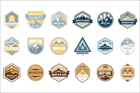 Illustration pour Mountain camping logo set, alpinist, mountain peaks, deep cave retro vintage style emblems and badges vector Illustrations isolated on a white background. - image libre de droit