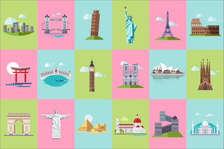 Ilustración de Famous architectural landmarks icons set, popular travel historical landmarks and buildings of different countries vector Illustrations - Imagen libre de derechos