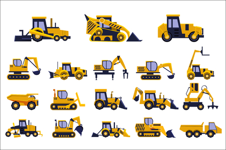 Illustration pour Different types of construction trucks set, heavy equipment, construction vehicles vector Illustrations isolated on a white background. - image libre de droit