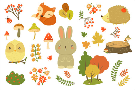 Illustration pour Autumn forest elements set, forest animals, leaves, flowers, mushrooms cartoon vector Illustrations isolated on a white background. - image libre de droit