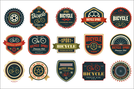 Illustration for Collection of vintage bicycle logos. Extreme cycling sport. Stylish typographic design for biking club, bike shop or repair service. Original vector emblems. Illustration isolated on white background. - Royalty Free Image