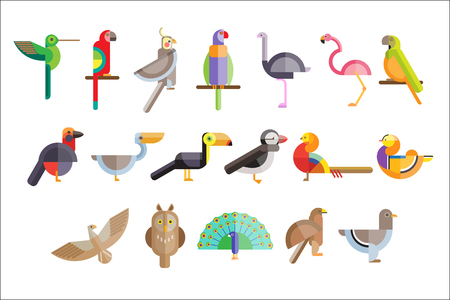 Illustration pour Colorful set of different birds. Pelican, owl, toucan, eagle, peacock, parrot, falcon, flamingo, pigeon, pheasant. Wild creatures Icons in geometric flat style Vector illustration isolated on white - image libre de droit