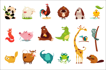 Illustrazione per Colorful set of funny of various animals. Panda, sheep, ram, frog, duckling, rooster, fox, pig, bear, crocodile, giraffe, cat cow elephant frog beaver raccoon parrot Cartoon flat vector design - Immagini Royalty Free
