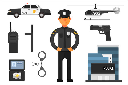 Illustration pour Cartoon collection of police attributes. Officer in uniform, gun, baton, automobile, badge, helicopter, pair of handcuffs, keys, portable radio and building. Flat vector elements for infographic - image libre de droit