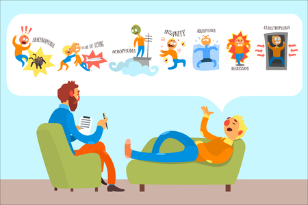 Illustration pour Man talking with psychotherapist about phobias arachnophobia, fear of flying, insanity, acrophobia, aquaphobia, aggression, claustrophobia. Patient lies on couch. Colorful flat vector illustration. - image libre de droit