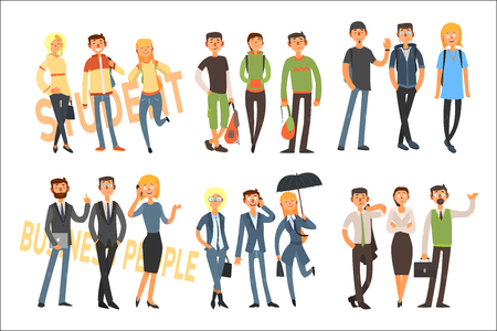 Illustrazione per Cheerful students and business people. Young girls and guys in casual outfit. Office workers in formal clothes. Flat vector set - Immagini Royalty Free