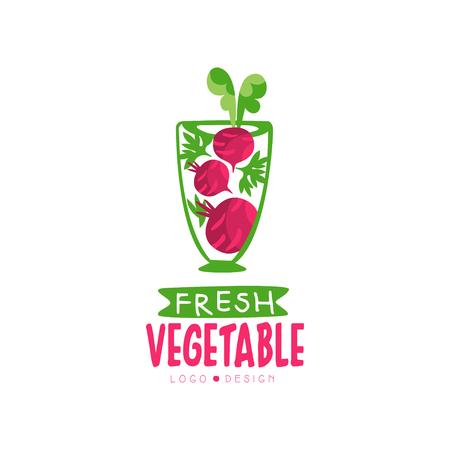 Ilustración de Creative vector label for organic juice from beetroot. Healthy vegetarian drink. Fresh beverage in transparent glass - Imagen libre de derechos