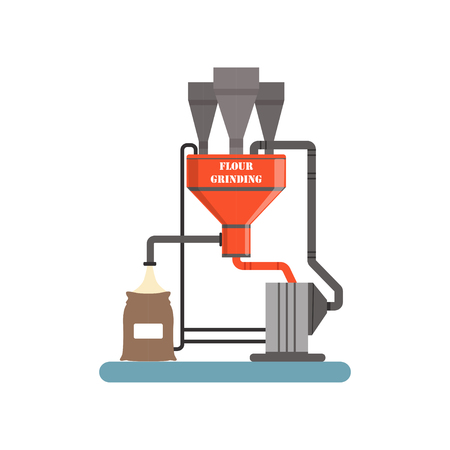 Illustration for Flour grinding equipment, stage of bread production process vector Illustration - Royalty Free Image