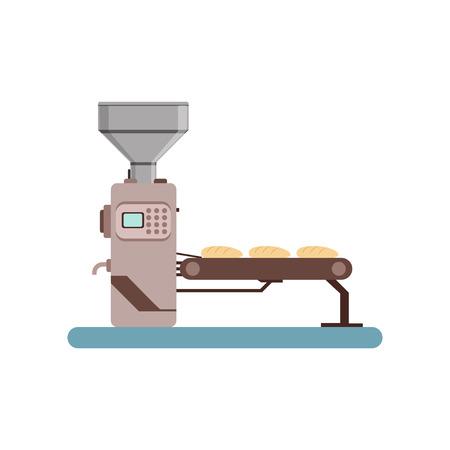 Ilustración de Conveyor line with bread, stage of bread production process vector Illustration on a white background - Imagen libre de derechos