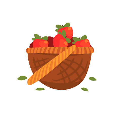 Illustration for Red ripe apples in the basket vector Illustration - Royalty Free Image