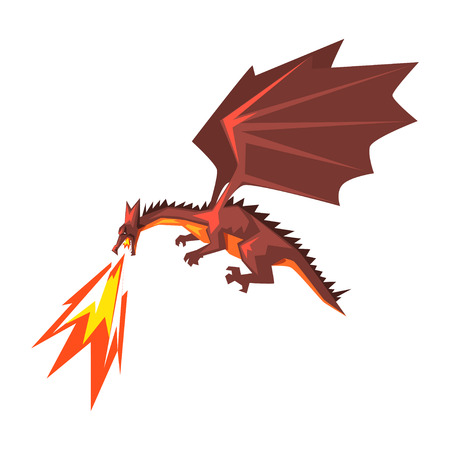 Illustration for Red dragon spitting fire, mythical fire breathing animal vector Illustration. - Royalty Free Image