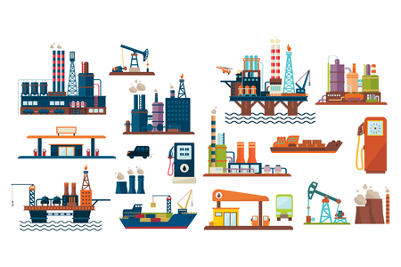 Ilustración de Oil industry set, extraction, refinery and transportation oil and petrol with gas station, vector Illustrations isolated on a white background. - Imagen libre de derechos