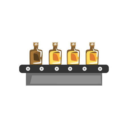 Illustration for Olive oil production, automated factory line with bottle of oil vector Illustration on a white background - Royalty Free Image