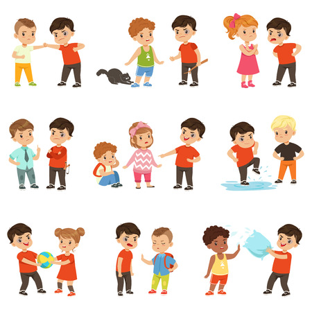 Photo pour Brave children characters confronting hooligans set, bad boy bullying a smaller kid vector Illustrations. - image libre de droit