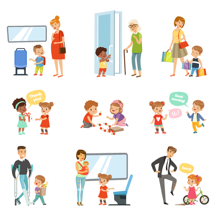 Ilustración de Kids good manners set, polite children helping adults, giving way to transport, thanking each other vector Illustrations isolated on a white background. - Imagen libre de derechos