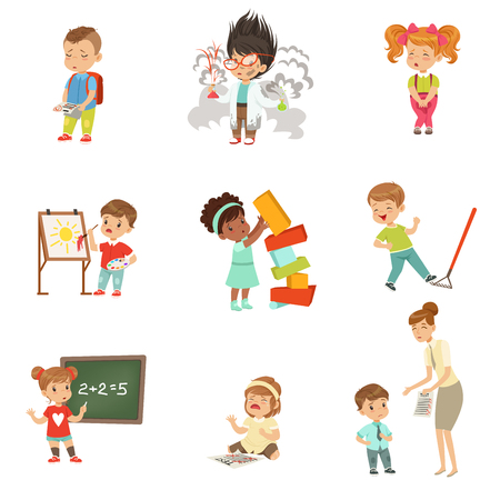 Illustrazione per Childrens failures and mistakes set, frustrated little kids experiencing their failures vector Illustrations on a white background - Immagini Royalty Free