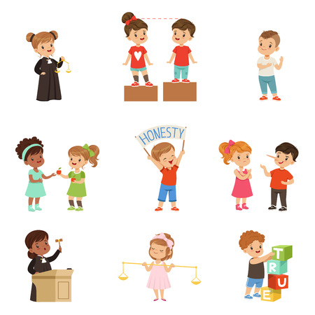 Ilustración de Kind and fair little children set, kids protecting friends, sharing with each other, carrying out justice vector Illustrations on a white background - Imagen libre de derechos