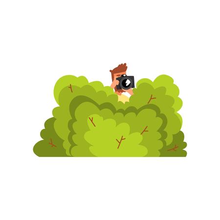 Ilustración de Professional male photographer paparazzi hiding in green bushes with photo camera vector Illustration isolated on a white background. - Imagen libre de derechos