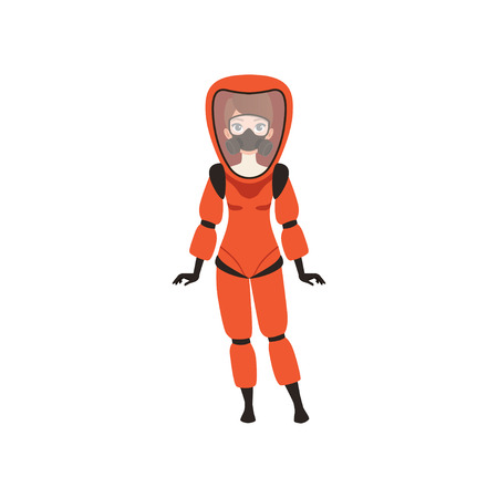 Illustrazione per Woman in red protective costume and gas mask. Protection from radiation hazard. Flat vector illustration - Immagini Royalty Free