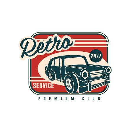 Illustration pour Retro service, premium club 24 7, vintage automotive repair label vector Illustration on a white background - image libre de droit