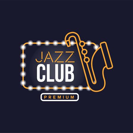 Ilustración de Jazz club neon sign, vintage bright glowing signboard, light banner vector Illustration - Imagen libre de derechos
